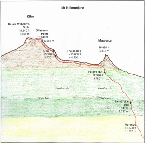 Nigel s roberts mt kilimanjaro 1959 diagram of the standard route up mt kilimanjaro sciox Image collections